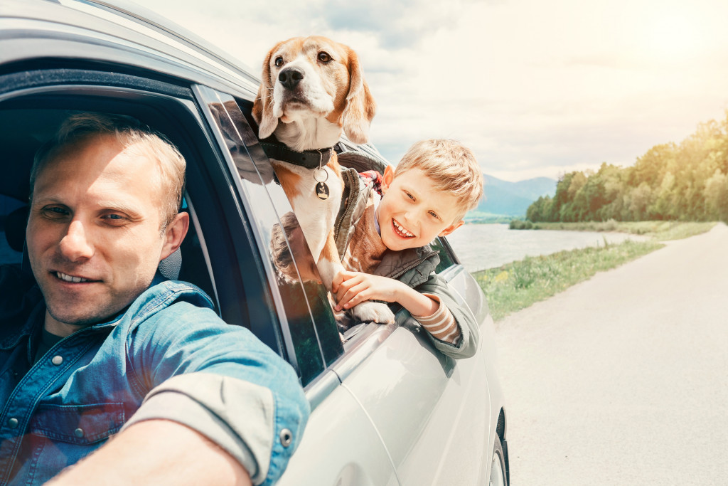 family in a car with a dog